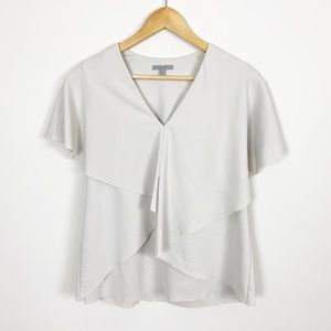 COS Asymmetrical Layered Crepe Top Light Gray S